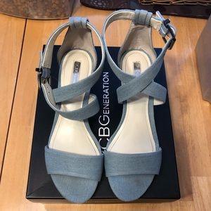 BCBG denim sandals. EUC